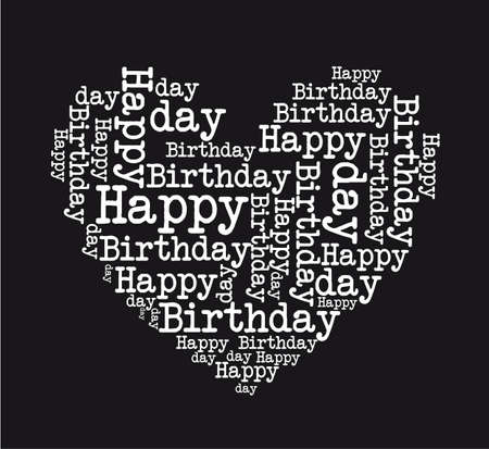 birthday wishes: black and white happy birthday heart isolated vector illustration