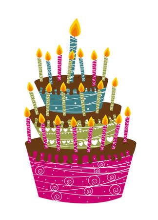 cute chocolate: cute cake happy birthday isolated over white background Illustration