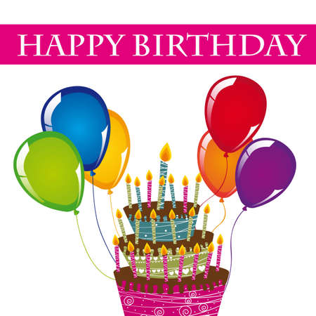 happy birthday card with cake and balloons. vector  Stock Vector - 12136567