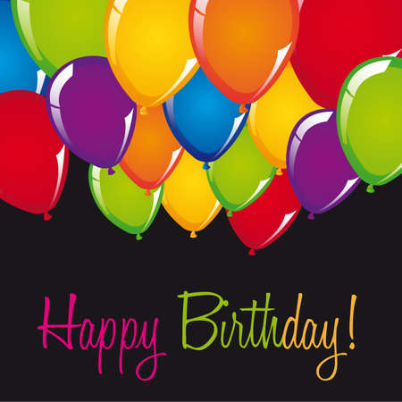 happy people: happy birthday card with balloons over black background. vector