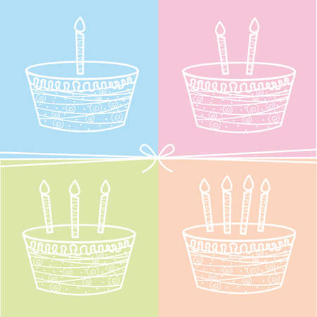 four cute cakes with bow background. vector illustration Vector