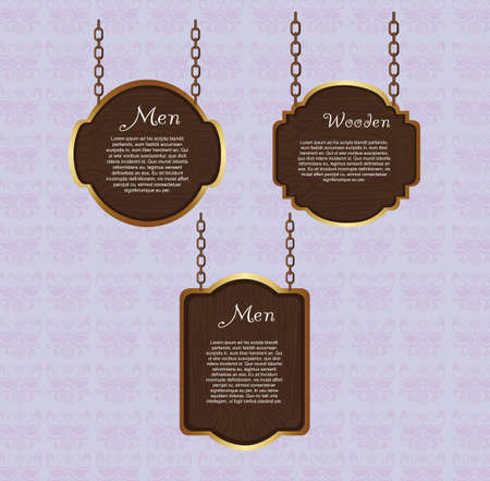wooden sign hanging over violet background. vector illustration Vector