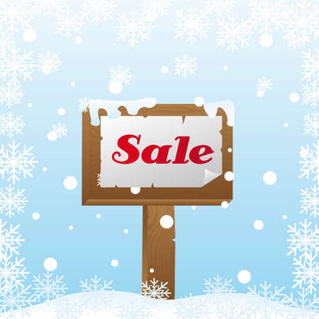 sale wooden over snow, winter sale. vector illustration Vector