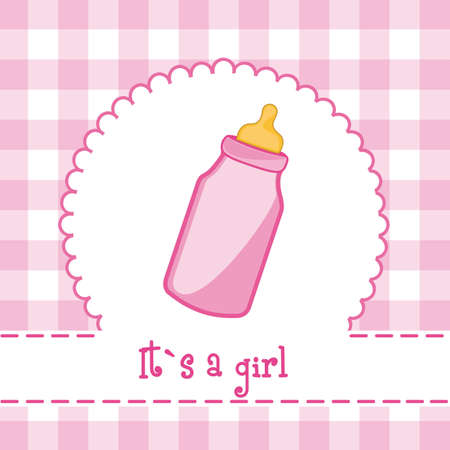 nina: it�s a girl card with bottle baby, baby shower. vector illustration Illustration