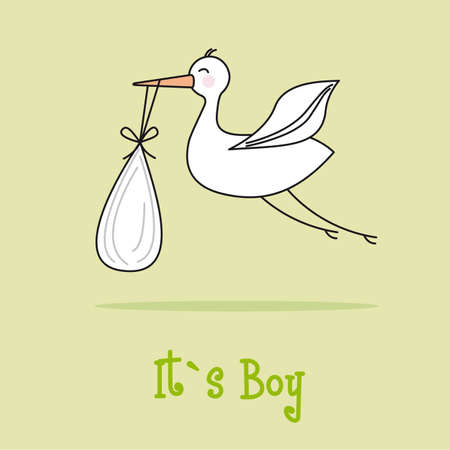 baby announcement: it�s a boy card with stork over green background. vector