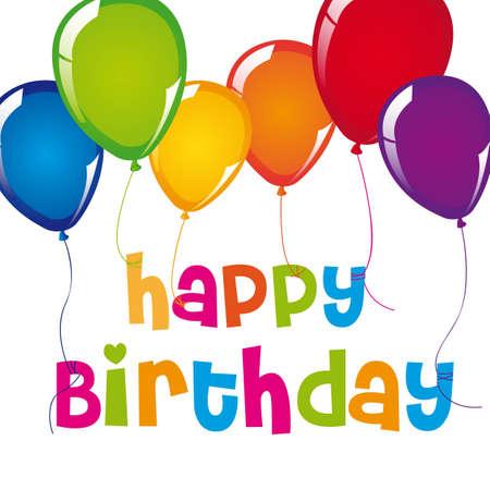 globos de cumpleaños: tarjeta de feliz cumpleaños con globos sobre fondo blanco. vector Vectores