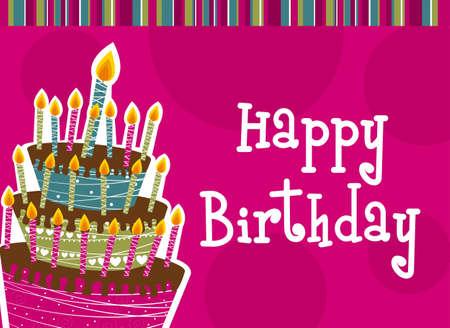 happy birthday cartoon: happy birthday with cake card. vector illustration