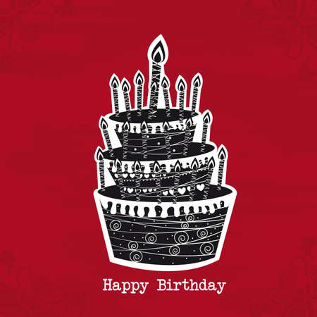 black and white cake birtday over red background. vector Illustration