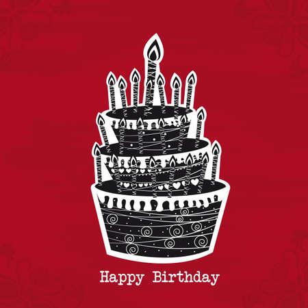 happy birthday party: pastel de blanco y negro birtday sobre fondo rojo. vector Vectores