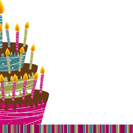 pastel feliz cumplea�os: Tarjeta de la torta sobre el fondo blanco. ilustraci�n vectorial