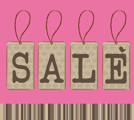 pink and brown background: brown sale tags over pink background. vector illustration Illustration