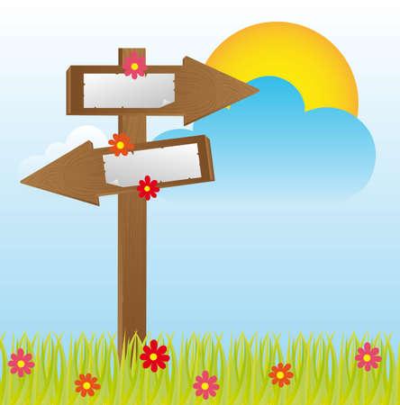wooden sign over landscape background. vector illustration Stock Vector - 12136569