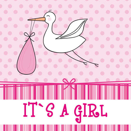 toddler girls: it´s a girl with stork , baby shower. vector illustration Illustration