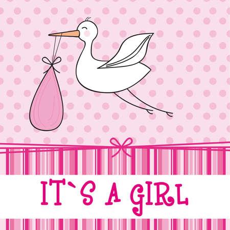 lovely girl: ITSA chica con la cig�e�a, baby shower. ilustraci�n vectorial Vectores
