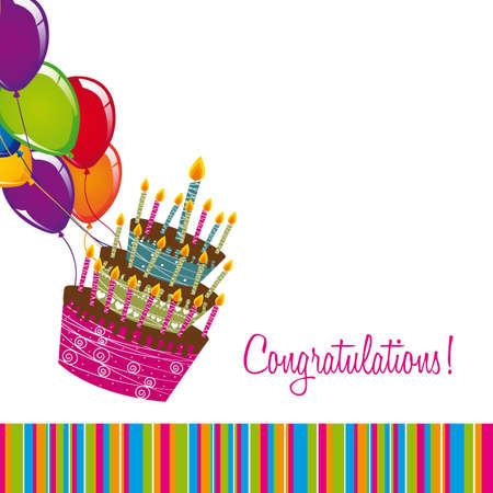 torta panna: congratulazioni scheda con torta e palloncini su sfondo bianco.