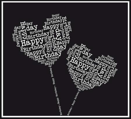 happy birthday heart shapes: black and white happy birthday hearts. illustration