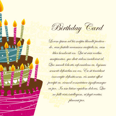 birthday card with cake over beige background.  Vector