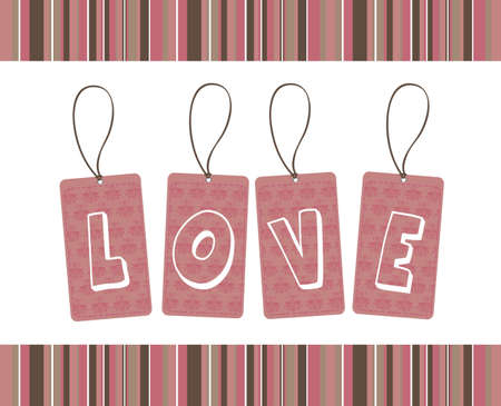 pink ornament love tags over white background. Stock Vector - 12459274