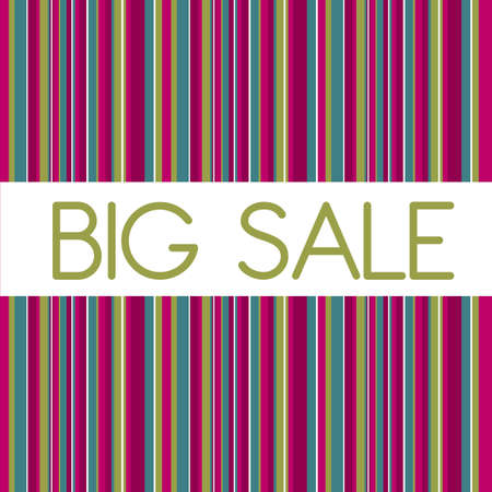 cute big sale with stripes background. illustration Stock Vector - 12458946