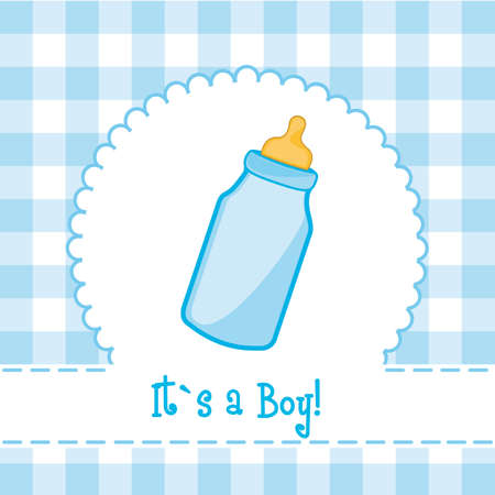 baby with bottle: its a boy card with baby bottle, baby shower. illustration Illustration