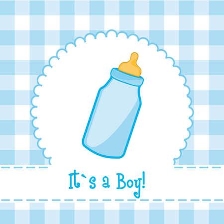 une carte son garçon avec un biberon de douche de bébé,. illustration Vecteurs