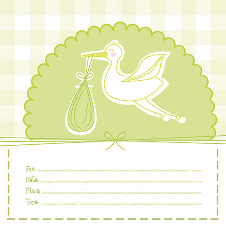 green baby shower card with stork. illustration Vector