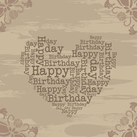 heart grunge with ornament, happy birthday. illustration Vector