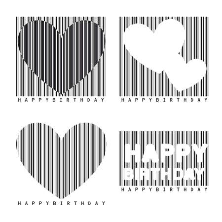 barcode with hearts isolated over white background.  Illustration