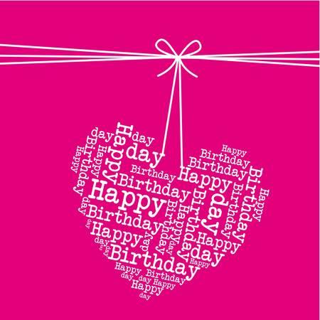colgando corazón sobre fondo de color rosa, feliz cumpleaños.