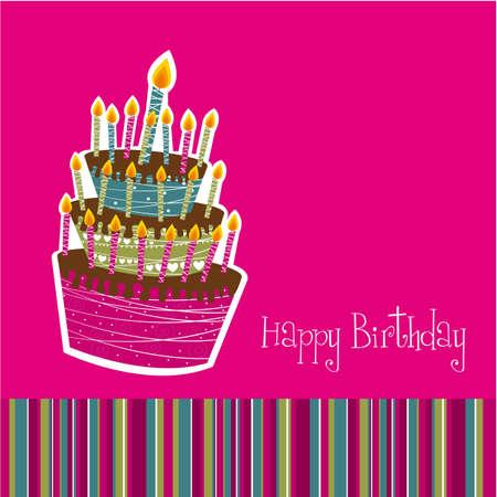 carta di felice compleanno con la torta su sfondo rosa.