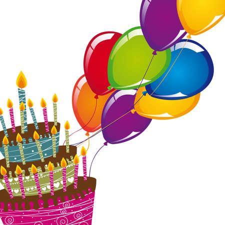 tortas de cumplea�os: pastel con globos sobre ilustraci�n de fondo blanco