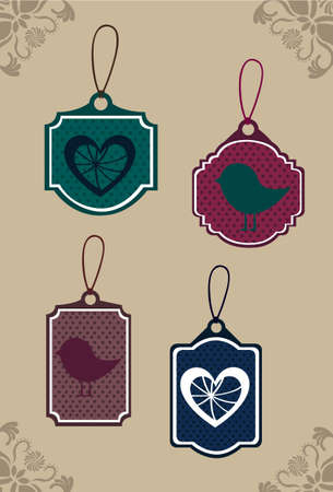 cute tags over brown background. illustration Vector