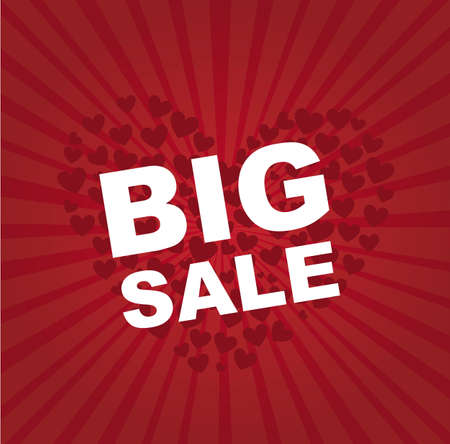 big sale text over hearts over red background. illustration Stock Vector - 12458950