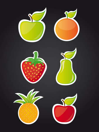 six cute fruits over black background illustration Vector