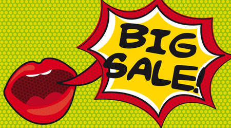 big sale over thought bubble with mounth, pop art. Vector