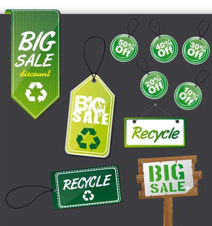 green labels over gray background. illustration Vector
