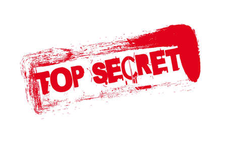 red seal with top secret text over white background.  Vector