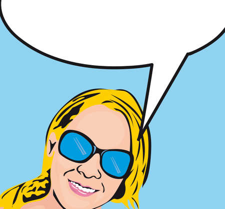 pop art woman with thought bubble over blue background.  Vector