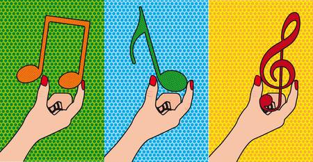 hands holding musical notes, pop art. illustration Vector