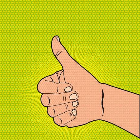 emelt: jó kéz alatt zöld háttér, pop art. ábra Illusztráció
