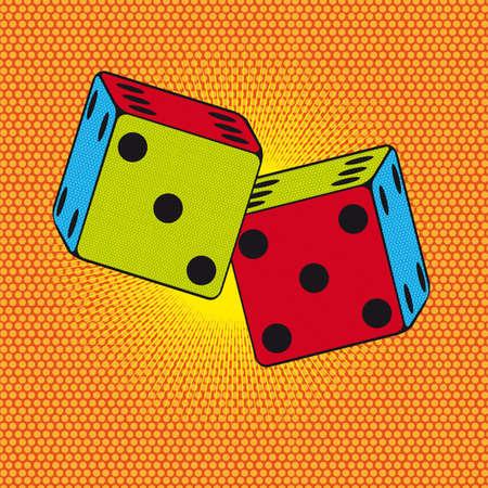 colorful dices over orange background,pop art. illustration Vector