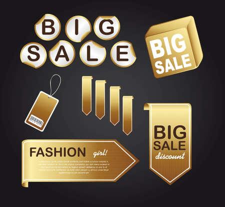 gold tags over black background illustration Vector