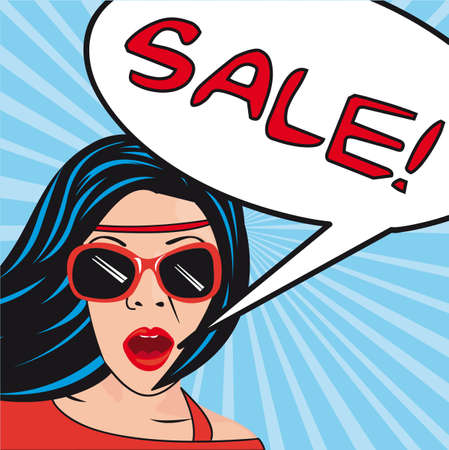 promotion girl: pop art women  with thought bubbles sale.illustration
