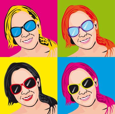 colorful pop art woman background. illustration  Vector