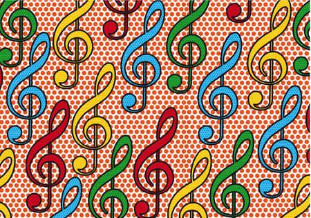 musical notes pop art background. illustration Stock Vector - 12459283
