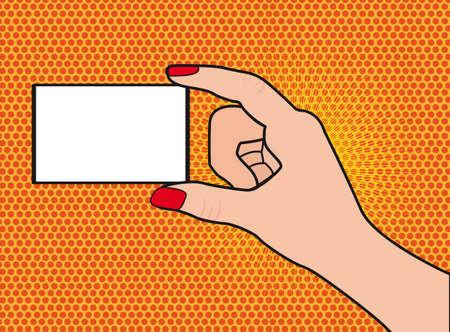hand holding card: hand die kaart pop art achtergrond illustratie Stock Illustratie