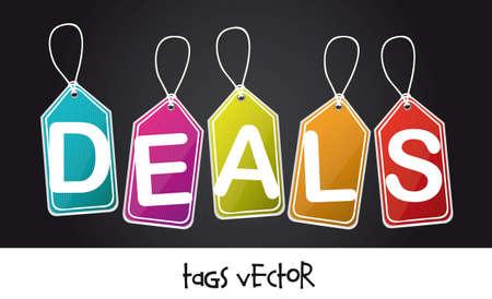 deals: colorful deals tags over black background illustration Illustration