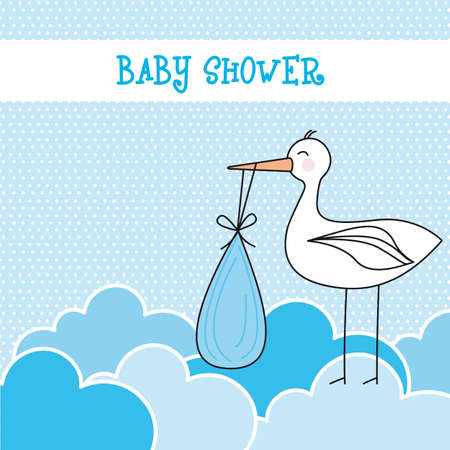 blue baby shower card with stork and clouds illustration Vector