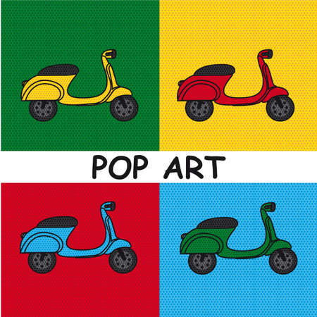 pop art motorbike  over colourful tiled background.  Vector