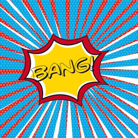 nuclear bomb: Bang c�mica sobre el pensamiento de fondo de la burbuja. ilustraci�n Vectores